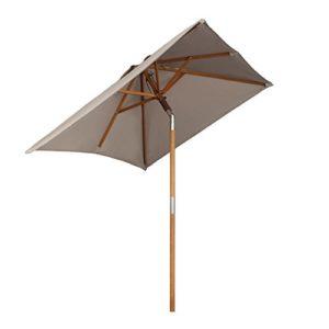 Sekey® 200 × 150 cm Holz-Sonnenschirm Marktschirm Gartenschirm Terrassenschirm Taupe Quadratisch - 1