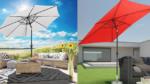 Zwei Sonnenschirme mit Gelenkarm in weiß und in rot. farbiger Hintergrund