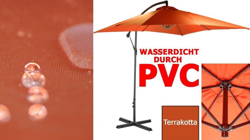 Beispiel für einen wasserdichten Sonnenschirm. Die Farbe des Schirms ist terracotta-rot